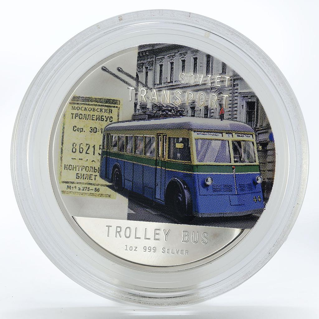 Niue 2 dollars Soviet Transport Trolley Bus proof colored silver coin 2010