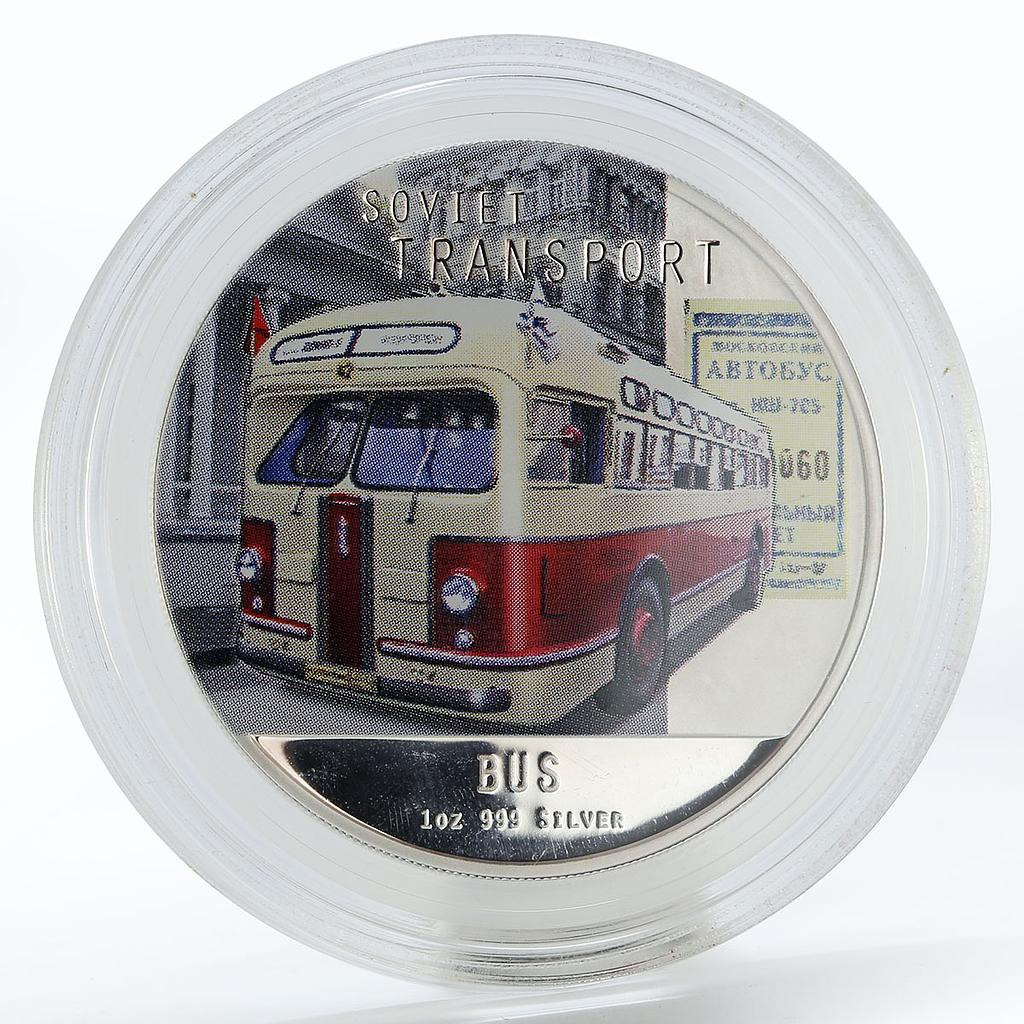 Niue 2 dollars Soviet Transport Bus proof colored silver coin 2010