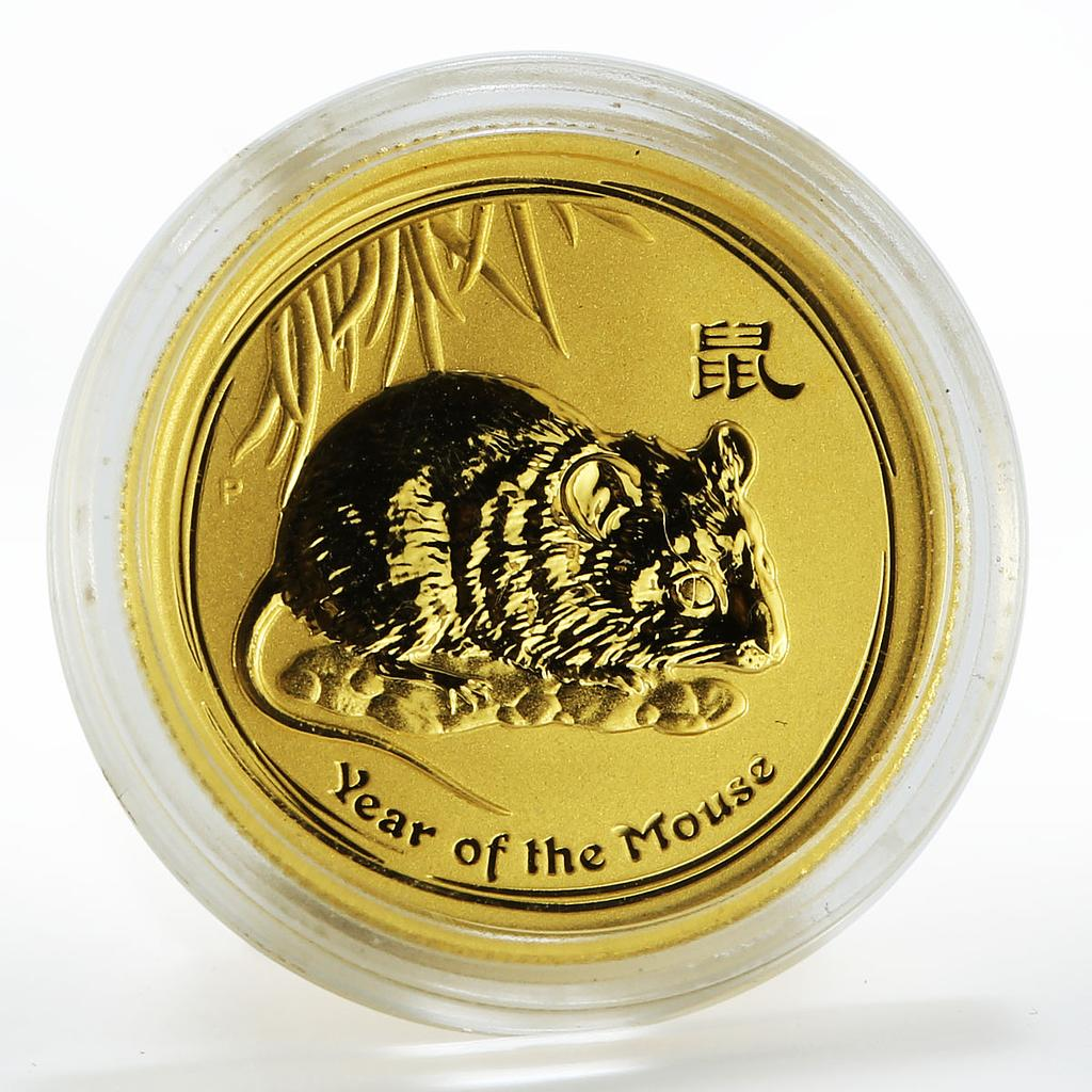 Australia 25 dollars Year of the Mouse Lunar Series II gold coin 2008