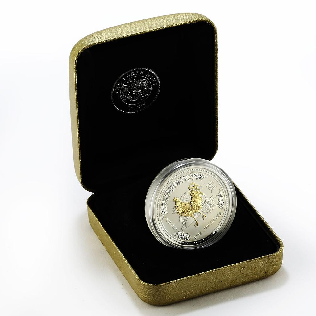 Australia 1 dollar Year of the Rooster Lunar Series I Gilded Silver 1 Oz 2005
