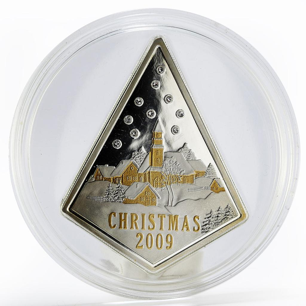 Cook Islands 5 dollars Christmas Swarovski gilded proof silver coin 2009