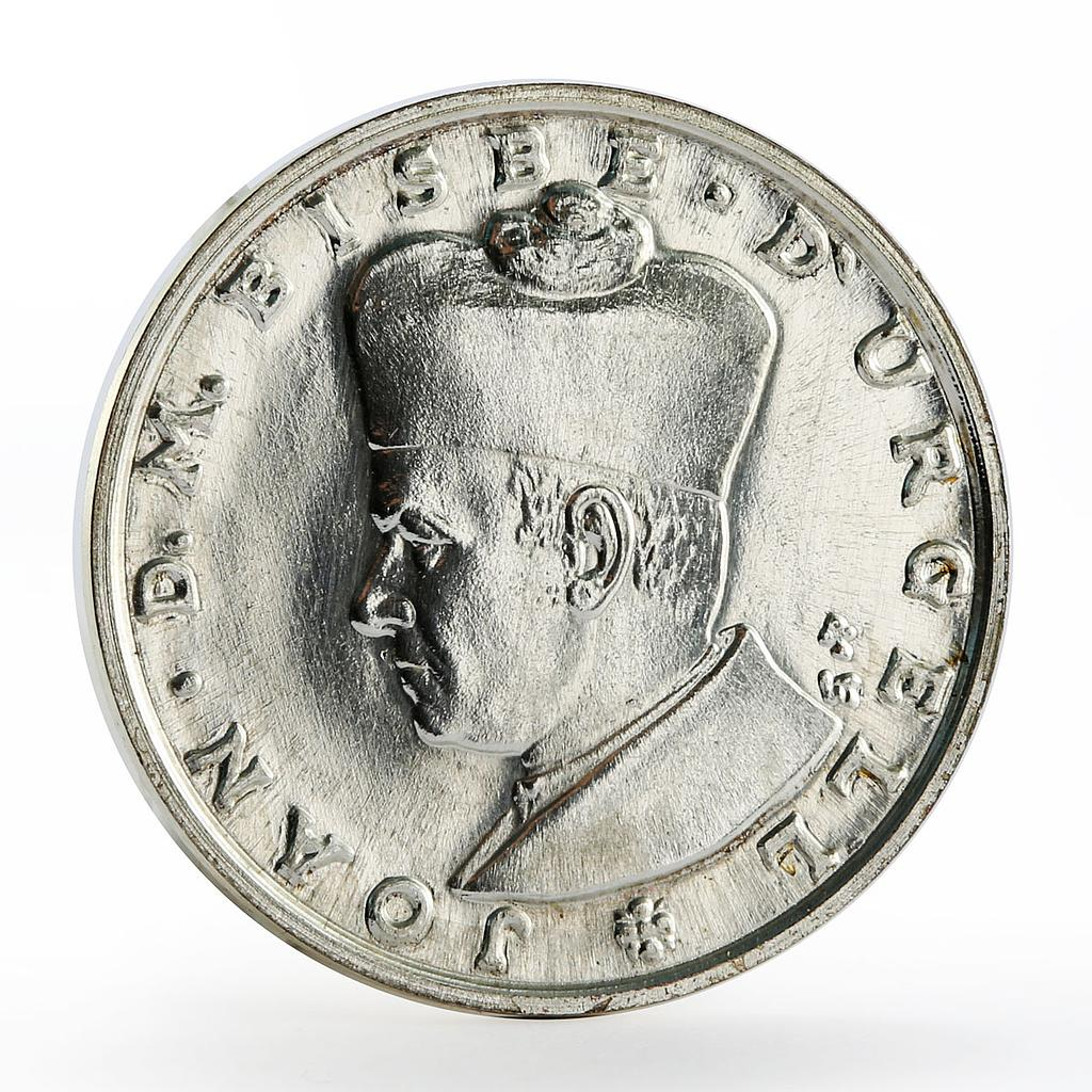 Andorra 10 dinars Joan D.M. Bisbe D'Urgell Crowned arms silver coin 1984