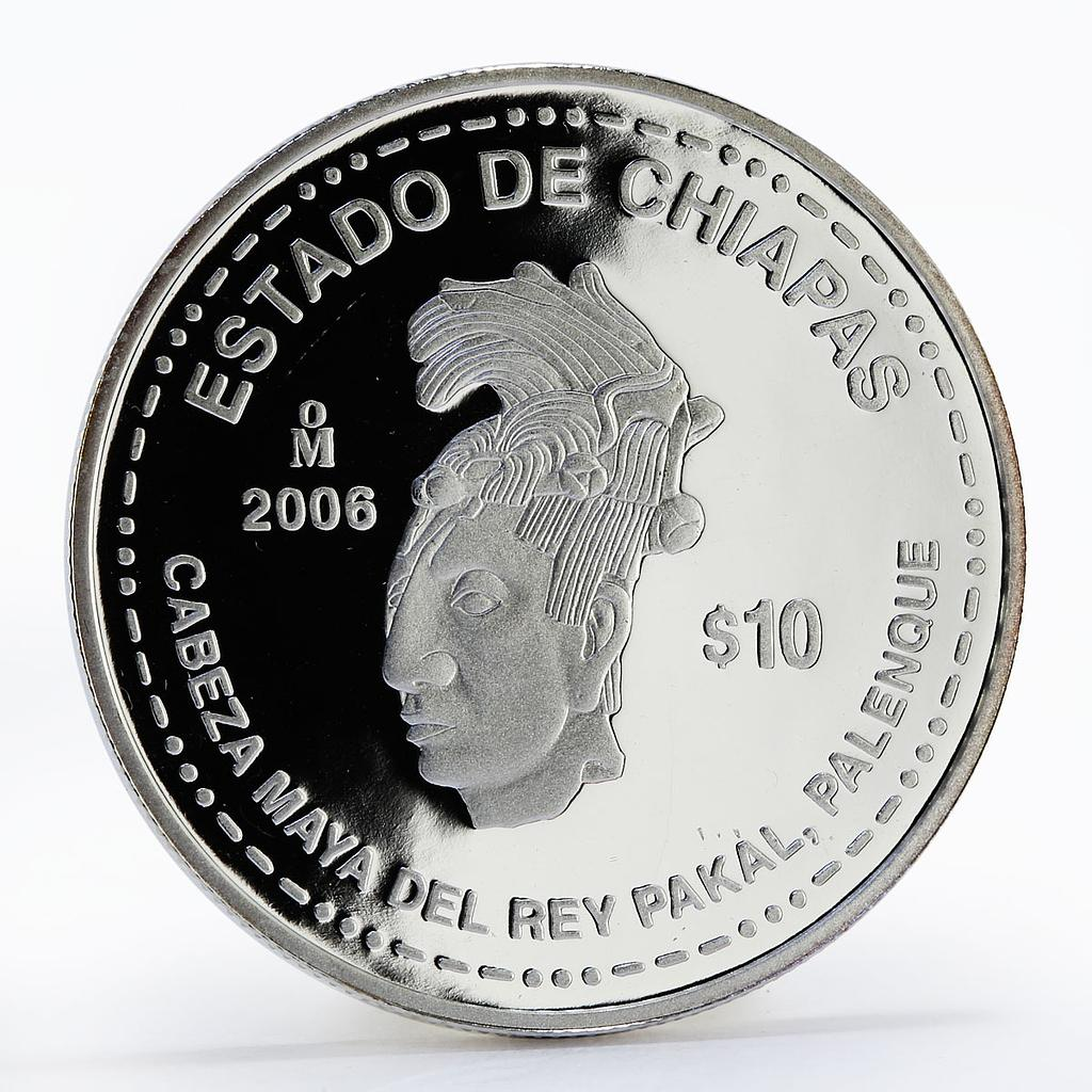 Mexico 10 pesos 180th Anniversary of Chiapas silver proof coin 2006