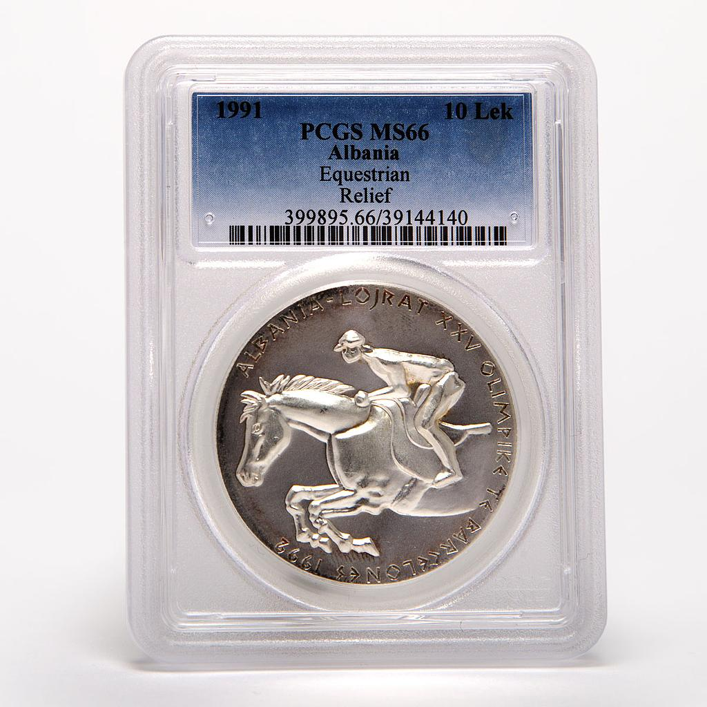 Albania 10 leke Equerestian Horse and rider Relief PCGS MS66 silver coin 1991